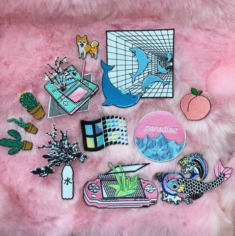 KOKO PROMOTION IRON ON Embroidery patch- VAPORWAVE GRUNGE SET