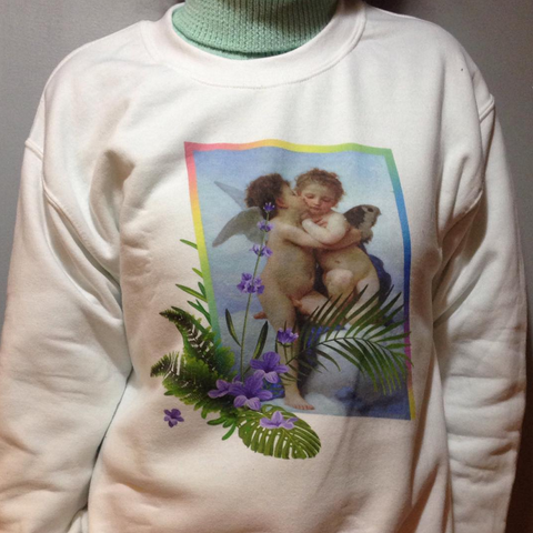 NEW  -FIRST KISS LAVENDER tumblr aesthetic ART jumper