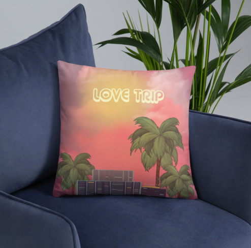 80s Japanese City Pop Aesthetic - LOVE TRIP PILLOW