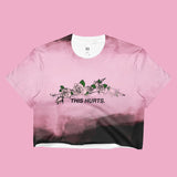 USED- THIS HURTS COLLECTION- PINK BLACK CROP TOP -MADE IN USA (SWEATSHOP-FREE)