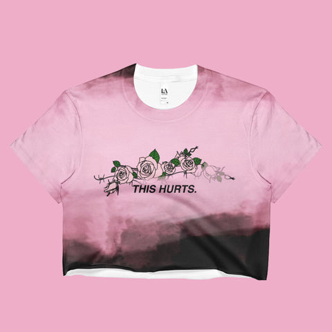 THIS HURTS COLLECTION- PINK BLACK CROP TOP -MADE IN USA (SWEATSHOP-FREE)