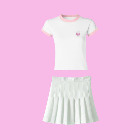 Valentine's Day SALE- ALIEN PINK TOP & SKIRT set