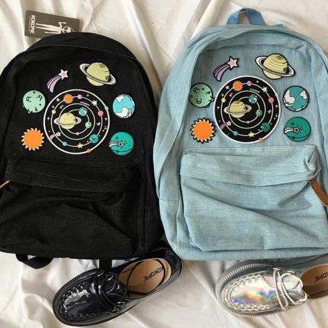 Solar system koko canvas denim backpack