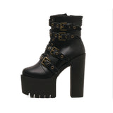 2019 BUCKLES MOTO BOOTS HIGH HEELS