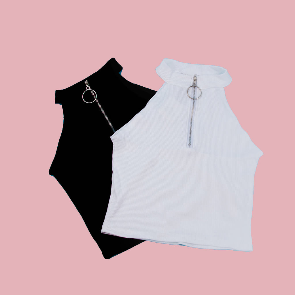 NOVEMBER SPECIAL DEAL - ZIP UP BLACK CROP TOP