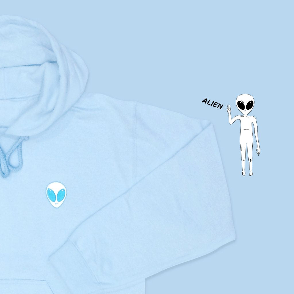 FREE SHIPPING BABYBLUE KOKO-Alien embroidery Hoodie