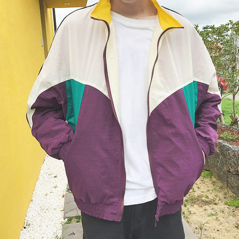 2019 NEW COLOR BLOCK ART HOE WINDBREAKER