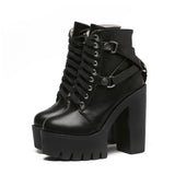 GOTH BUCKLE HIGH HEEL TOP BOOTS