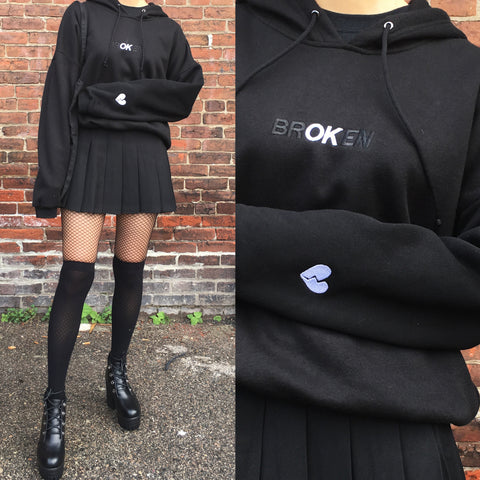 "2018 BROKEN HAERT  - NEW KOKO ""brOKen but I am OK"".  HOODIE CROP"