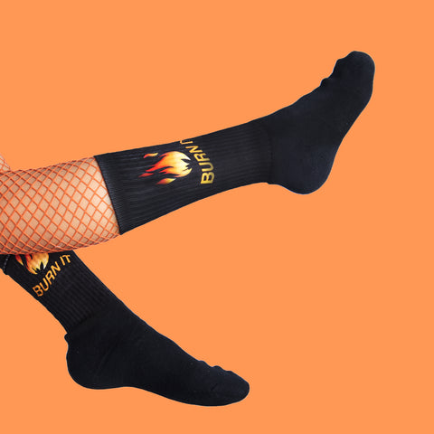 "KOKO - KOKO - GRUNGE ""BURN IT""- ""DON'T PLAY WITH ME BOY""  SOCKS (MADE IN USA- SWEATSHOP FREE)"