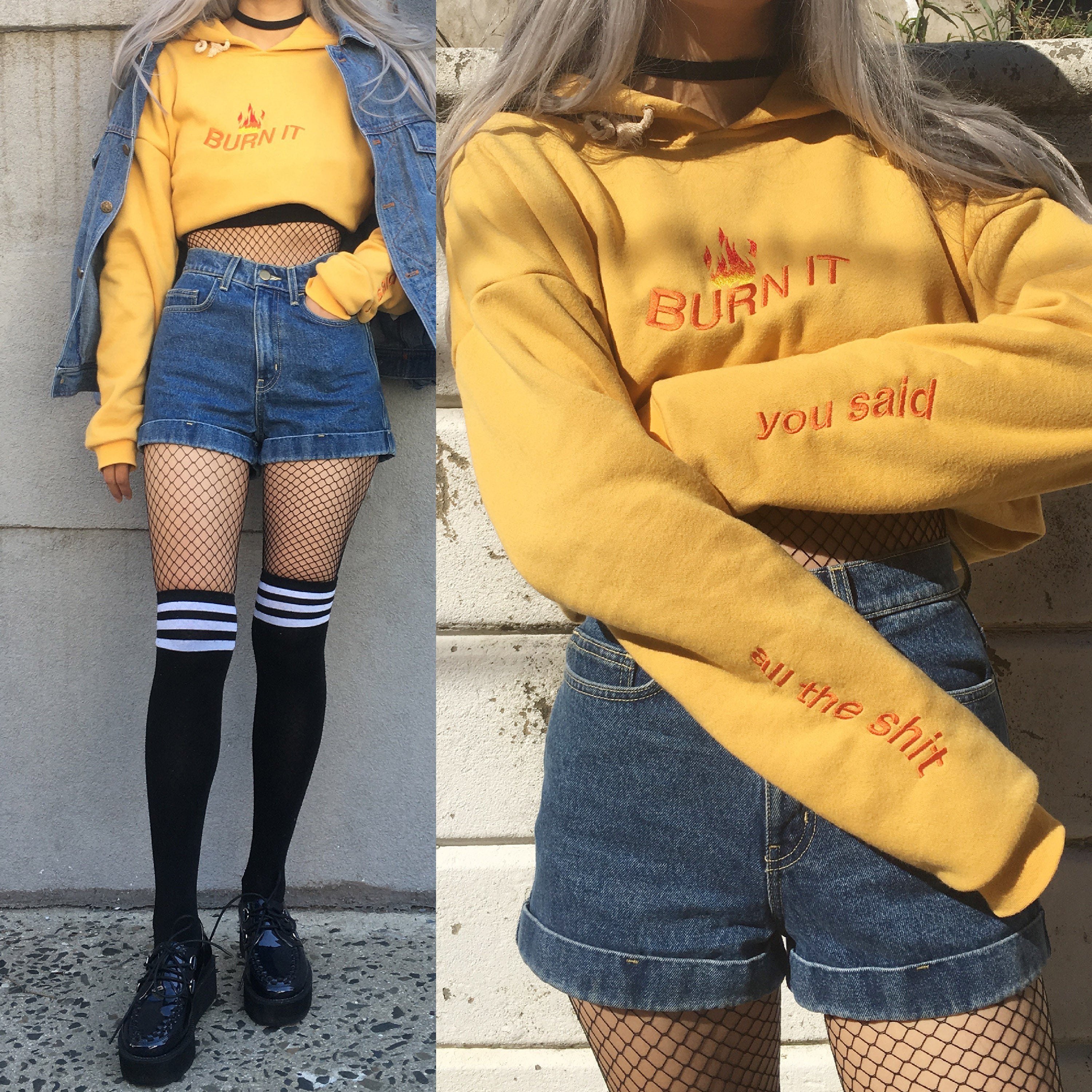 LIMITED ITEM - 90S VINTAGE GRUNGE BURN IT OUTFIT - kokopiecoco