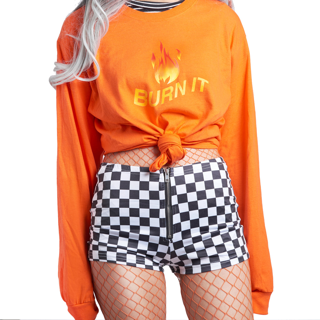 MY LIOVE IS ON FIRE -90s Checkerboard SHORTS
