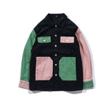 90s kids color block Unisex Button UP Shirt