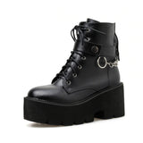GOTH PUNK CHAIN RING BOOTS