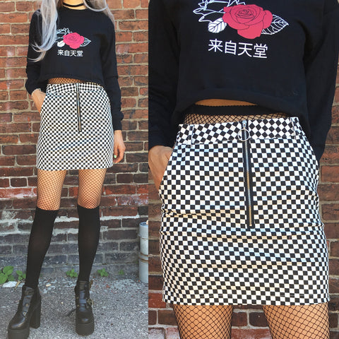 90S KIDS- CHECKER A-LINE SKIRT