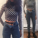 90s Checkerboard Sheer Top