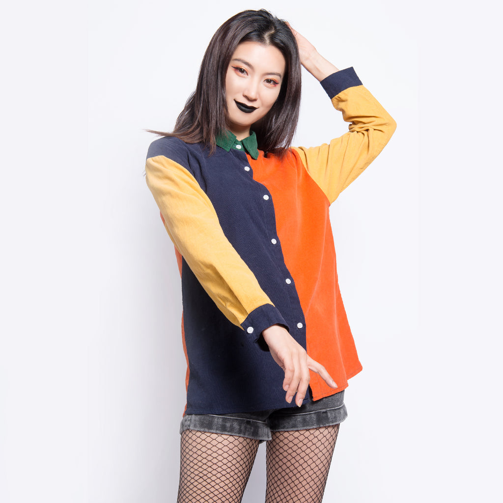 90S kids color block tumblr art hoe button up shirt