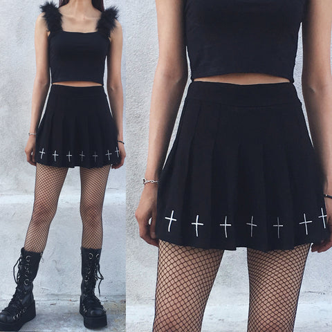 Goth Embroidery Pleated skirt