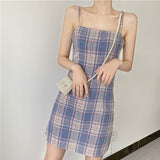 SOFT GIRL - VINTAGE STYLE Super Slim Plaid dress