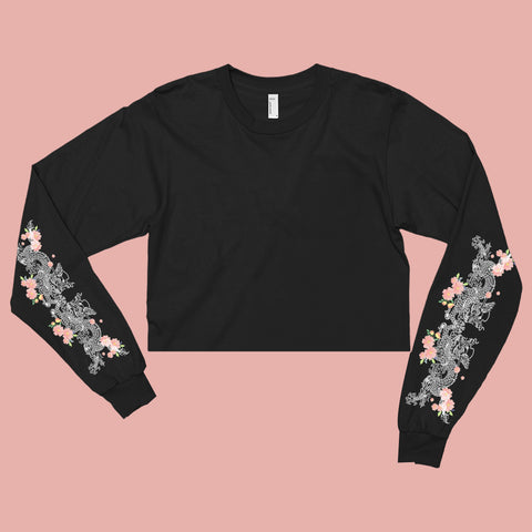 2018 TUMBLR GRUNGE - DRAGON FLOWER-LONG SLEEVE CROPTOP
