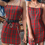 2020 new red plaid dress
