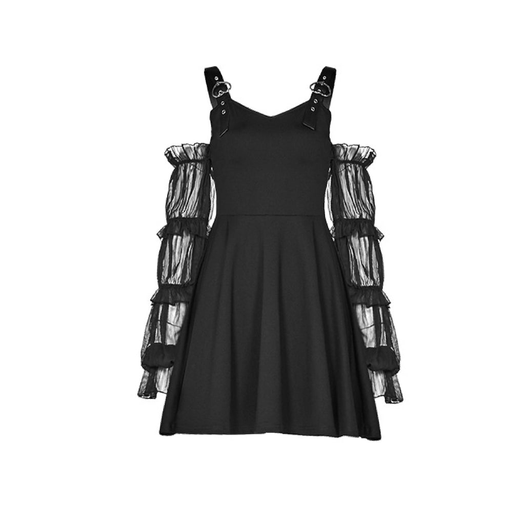 2020 NEW goth ruffle sleeve dress