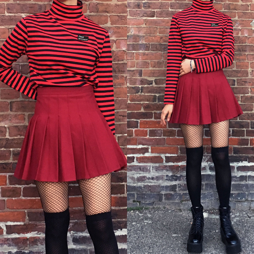 FAKE BITCHES COLLECTION - STRIPED TEE + WINE SKIRT SET