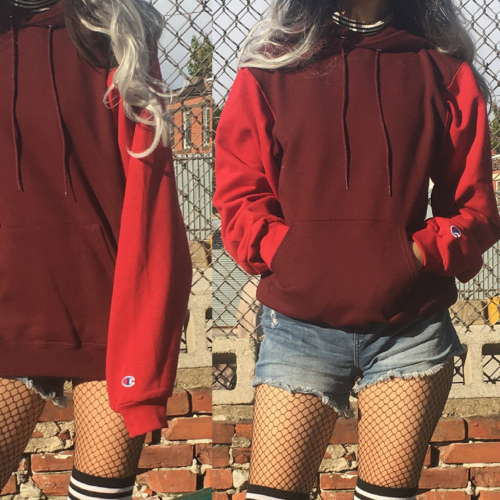 NEW - 90s vintage look Grunge cropped sweatshirt over size - color block