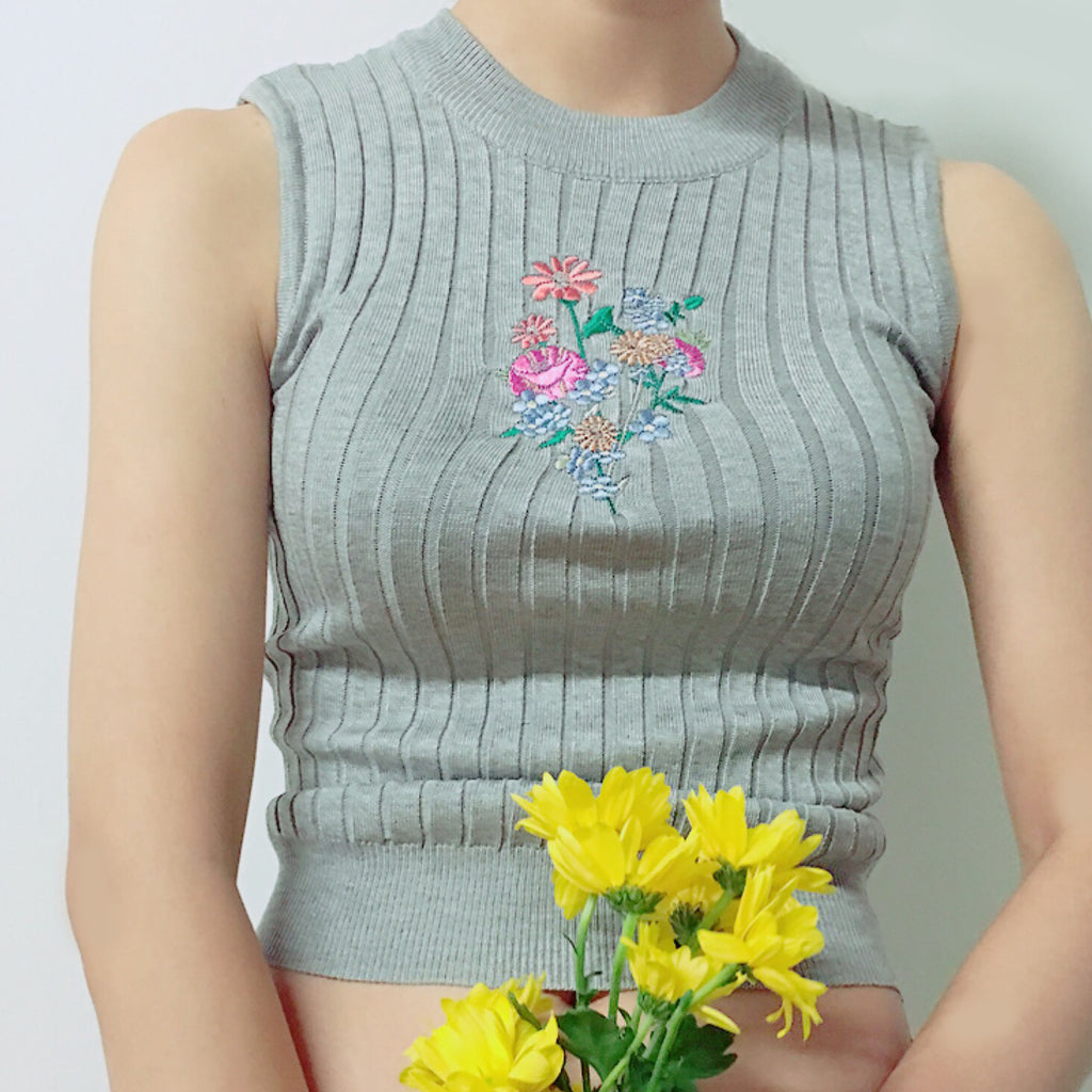 BLACK FRIDAY SALE-90s baby soft grunge flower koko crop top