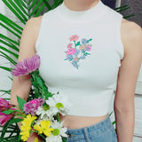 Soft grunge flower koko crop top