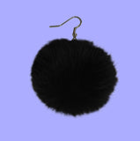 FAUX Rabbit fur ball earrings
