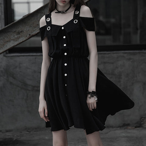2018 GOTH DRESS - EYELET OFF SHOULDER