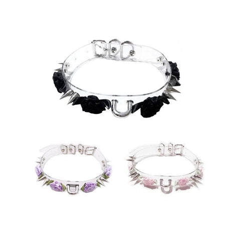 GOTH ROSE CLEAR PU CHOKER