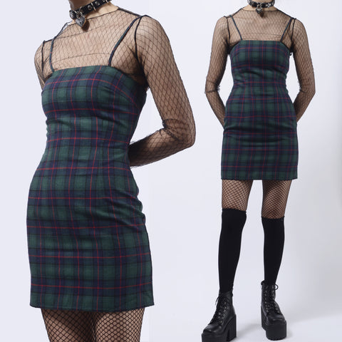 2019 NEW LIMITED EDITION - TUMBLR SOFT GRUNGE 90S KIDS GREEN PLAID DRESS
