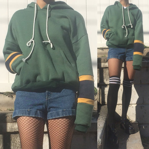 LIMITED ITEM - 90S VINTAGE GRUNGE GREEN HOODIE-COLOR BLOCK SLEEVE