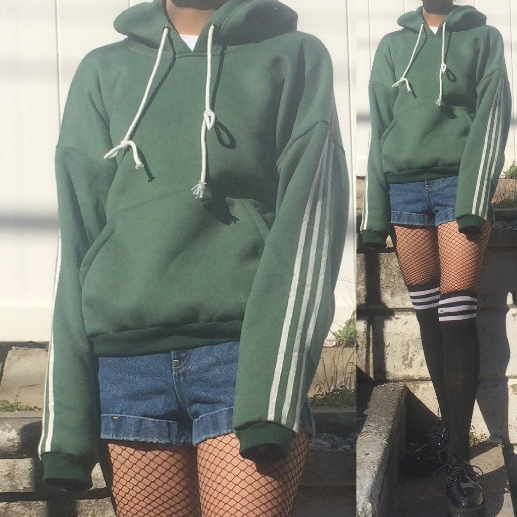 LIMITED ITEM - 90S VINTAGE GRUNGE GREEN OUTFIT -THREE WHITE STRIPED