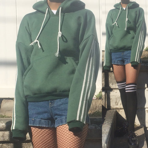 LIMITED ITEM - 90S VINTAGE GRUNGE GREEN HOODIE -THREE WHITE STRIPED