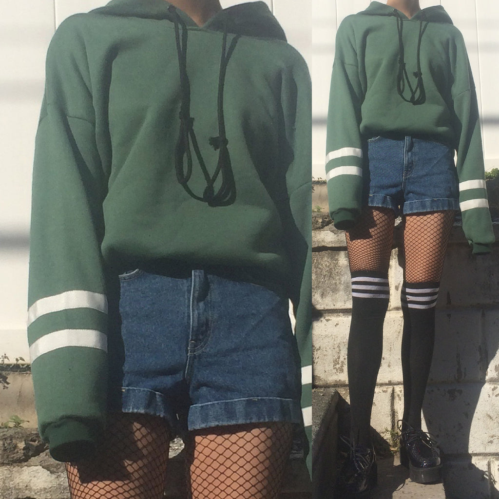 90S VINTAGE GRUNGE GREEN HOODIE-TWO WHITE SRIPED