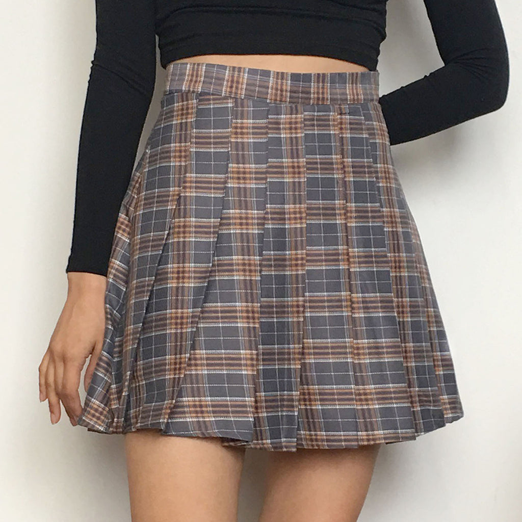 952e333518 GREY KAWAII PLAID SKIRT – kokopiecoco