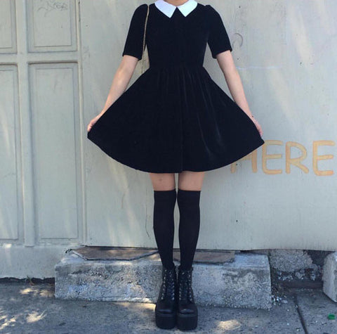 WEDNESDAY ADDAMS SHORT SLEEVE DRESS