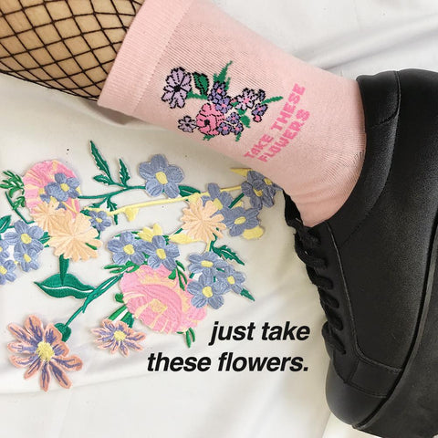 SAMPLE SALE- JUST TAKE THESE FLOWERS UNISEX SOCKS