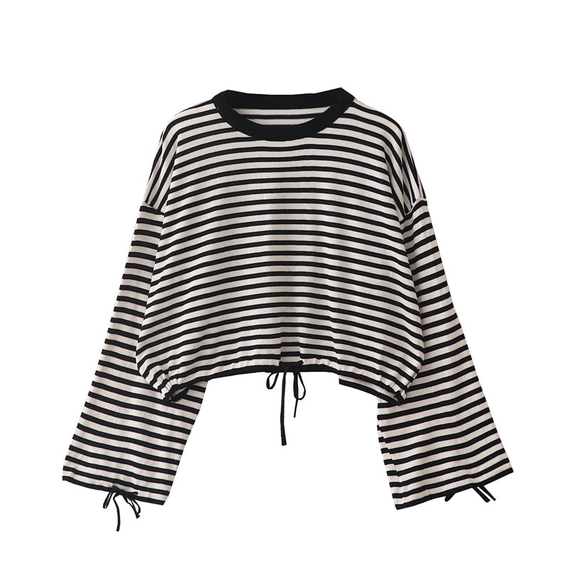 2019 Fall- Off shoulder Striped Loose Tee