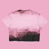 USED- TWO MOODS COLLECTION- PINK BLACK CROP TOP -MADE IN USA (SWEATSHOP-FREE)