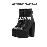 LACE UP HIGH TOP LONG KNEE GOTH PUNK BOOTS