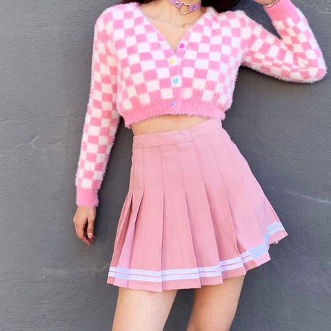 90S BABE PINK CHECKER FUZZY Cardigan SKIRT OUTFIT