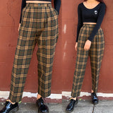 Limited Item - Quality Japanese Vintage Kaki Olive Green Plaid WOOL Trousers