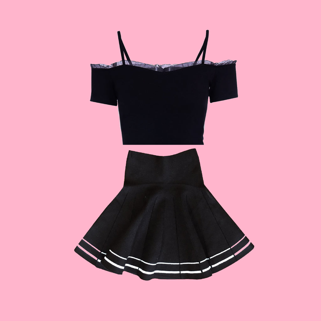 2019 NEW spring/summer GOTH SHOULDER RUFFLE CROP TOP