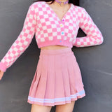 (FREE SAMPLE ITEM WITH FREE SHIPPING FROM KOKO )  90S BABE PINK CHECKER FUZZY Cardigan SKIRT OUTFIT