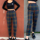 Limited Item - Quality Japanese Vintage Plaid Green WOOL Trousers