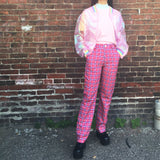 2018 NEW! 90S GRUNGE HOT PINK Plaid High waist Trousers